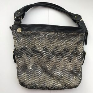Big Buddha Black/Silver Chevron Large Hobo